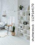 spacious stylish white loft...   Shutterstock . vector #1129164170