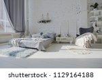 spacious stylish white loft...   Shutterstock . vector #1129164188