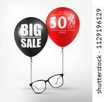 eyeglasses sale banner concept. ... | Shutterstock .eps vector #1129196129