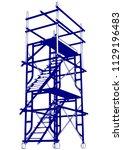 scaffolding frame 2 floors... | Shutterstock .eps vector #1129196483