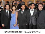 Small photo of LOS ANGELES, CA - JANUARY 25, 2009: Slumdog Millionaire - Freida Pinto, Dev Patel, director Danny Boyle, et al at the 15th Annual Screen Actors Guild Awards at the Shrine Auditorium, Los Angeles.