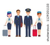group of pilots and flight... | Shutterstock .eps vector #1129201133