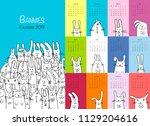 Stock vector funny rabbits design calendar 1129204616