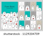 funny white bears family.... | Shutterstock .eps vector #1129204709