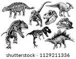 graphical set of dinosaurs... | Shutterstock .eps vector #1129211336