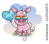 cute cartoon baby pig in a cool ... | Shutterstock . vector #1129226573
