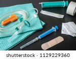 medical syringe and infusion...   Shutterstock . vector #1129229360