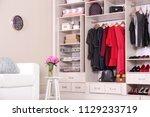 modern wardrobe with stylish... | Shutterstock . vector #1129233719