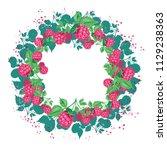 fresh raspberries with leaves...   Shutterstock .eps vector #1129238363