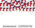 chile flags garland red... | Shutterstock .eps vector #1129242743