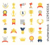 different awards and prizes... | Shutterstock .eps vector #1129243316