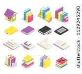 isometric books. school... | Shutterstock .eps vector #1129245290