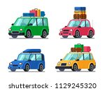 travel cars. car with tourism... | Shutterstock .eps vector #1129245320