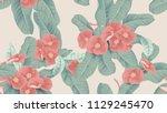 botanical seamless pattern  red ... | Shutterstock .eps vector #1129245470