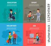 help disabled persons.... | Shutterstock .eps vector #1129245659