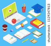 set of student acsessories on... | Shutterstock .eps vector #1129247813