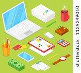 set of businessman accsessories ... | Shutterstock .eps vector #1129249010