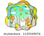 colorful building of big city.... | Shutterstock .eps vector #1129249076