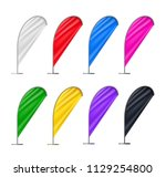 colorful beach flags set... | Shutterstock .eps vector #1129254800