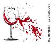 broken glass  flying fragments... | Shutterstock .eps vector #1129257089