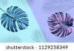 tropical monstera leaves with... | Shutterstock . vector #1129258349
