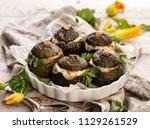 vegetarian stuffed zucchini.... | Shutterstock . vector #1129261529