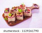 tasty summer fruits yeast cake  ... | Shutterstock . vector #1129261790