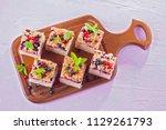 tasty summer fruits yeast cake  ... | Shutterstock . vector #1129261793