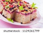 tasty summer fruits yeast cake  ... | Shutterstock . vector #1129261799