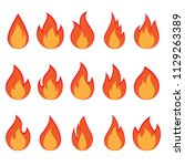set of fire flames on white... | Shutterstock . vector #1129263389