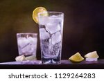 gin tonic glass cocktail drink... | Shutterstock . vector #1129264283
