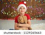 Cute Little Child In Santa Hat...