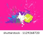 brigh paint spots on a pink... | Shutterstock .eps vector #1129268720