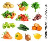 collection of fresh vegetables... | Shutterstock . vector #112927018