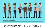 the squad of policemen in work... | Shutterstock .eps vector #1129273874