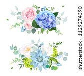 light blue  green hydrangea ... | Shutterstock .eps vector #1129274390