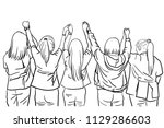 vector sketch of five woman... | Shutterstock .eps vector #1129286603