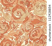 seamless texture of roses. | Shutterstock .eps vector #112928854