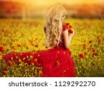 sexy blond girl in elegant... | Shutterstock . vector #1129292270