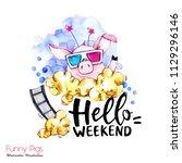 greeting holidays illustration. ... | Shutterstock . vector #1129296146