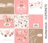 set of pink and brown christmas ... | Shutterstock .eps vector #112929673