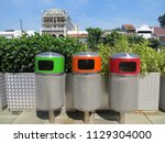 Small photo of JAKARTA, INDONESIA - July 7, 2018: Trash bins on Kali Besar, Kota Tua.