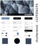 dark blue vector ui ux kit in...