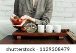 traditional accessories for tea ... | Shutterstock . vector #1129308479