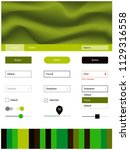dark green vector ui kit with...