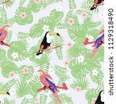 tropical seamless pattern with... | Shutterstock .eps vector #1129318490