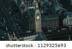 aerial view of the big ben and... | Shutterstock . vector #1129325693