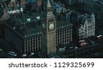 aerial view of the big ben and... | Shutterstock . vector #1129325699