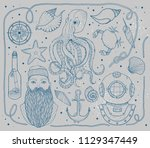 hand drawn vintage nautical set.... | Shutterstock .eps vector #1129347449