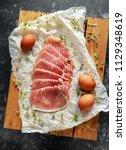 butchers made free range raw... | Shutterstock . vector #1129348619